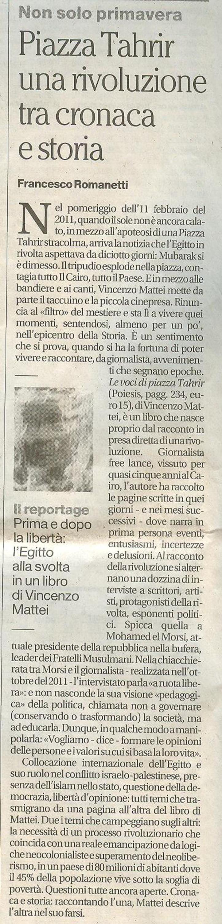Recensione sul Mattino di Napoli (11 dicembre 2012)