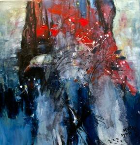 Donna abito rosso (50x50) - Mutaz Elemam