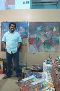 Mutaz nel suo studio